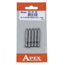 Apex 954-2X-V05 Bit 1/4 Hex Drv Power #2. Sq Len 1-15/16