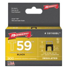 """Arrow Fastener 591168BL 1/4"""" Insulated Staple Black 300/Box (40 BOX)"""