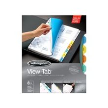 Wilson Jones® View-Tab® Transparent Dividers - 8 Print-on Tab(s) - 8 Tab(s)/Set - Transparent Polypropylene Divider - Multicolor Polypropylene, Transparent Tab(s) - 8 Pack