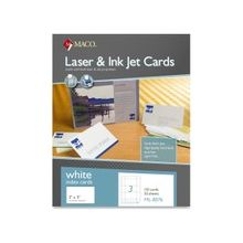 """MACO Micro-perforated Laser/Ink Jet Unruled Index Cards - 5"""" x 3"""" - 150 / Box - White"""