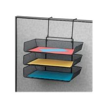 "Fellowes Mesh Partition Additions Triple Tray - 3 Pocket(s) - 3 Tier(s) - 14.8"" Height x 11.1"" Width x 14"" Depth - Partition-mountable - Recycled - Black - 1Each"