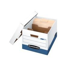 """Bankers Box R-Kive Divider Box - External Dimensions: 12.8"""" Width x 15"""" Depth x 10.4""""Height - Media Size Supported: Letter - Lift-off Closure - Medium Duty - Stackable - Fiberboard - White, Blue - For File - Recycled"""