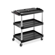 """Rubbermaid Commercial MediaMaster 9T2800 A/V Equipment Stand - Up to 24"""" Screen Support - 150 lb Load Capacity - 3 x Shelf(ves) - 32.1"""" Height x 18.6"""" Width - Floor Stand - Aluminum, Metal - Black"""