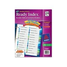 """Avery Double Column Index Divider - 24 Printed Tab(s) - Digit - 1-24 - 24 Tab(s)/Set - 8.50"""" Divider Width x 11"""" Divider Length - Letter - 3 Hole Punched - Multicolor Tab(s) - 24 / Set"""