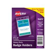 "Avery Vertical Style Heavy-Duty Badge Holder - 3.9"" x 2.6"" x 0.5"" - Vinyl - 25 / Pack - Clear"