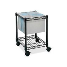 "Safco Compact Mobile File Cart - 1 Shelf - 4 Casters - Steel - 15.5"" Width x 14"" Depth x 19.5"" Height - Black"