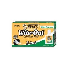 BIC Wite-Out Extra Coverage Correction Fluid - 0.68 fl oz - White - 3 / Box