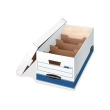 """Bankers Box Storage File Divider Box - Internal Dimensions: 12"""" Width x 24"""" Depth x 10"""" Height - External Dimensions: 12.9"""" Width x 25.4"""" Depth x 10.3"""" Height - Media Size Supported: Letter - 5 Dividers - Lift-off Closure - Medium Duty - Stackable - Whit"""