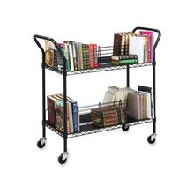 "Safco Double Sided Wire Book Cart - 4 Shelf - 200 lb Capacity - 4 Casters - 3"" Caster Size - Steel - 34"" Width x 19.3"" Depth x 40.5"" Height - Black"