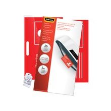 """Fellowes Glossy Pouches - ID Tag Punched with Clip, 5 mil, 25 Pk - 2.6"""" Height x 3.9"""" Width x 0"""" Depth - Clear"""
