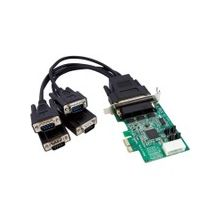 StarTech.com 4 Port Low Profile Native RS232 PCI Express Serial Card with 16950 UART - PCI Express - 4 x DB-9 Male RS-232 Serial Via Cable - Plug-in Card