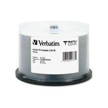 Verbatim MediDisc CD-R 700MB 52X White Inkjet Printable with Branded Hub - 50pk Spindle - Inkjet Printable