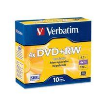 Verbatim DVD+RW 4.7GB 4X with Branded Surface - 10pk Jewel Case - 2 Hour Maximum Recording Time