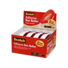 Scotch Adhesive Dot Roller Value Pack - 4 / Pack - Clear