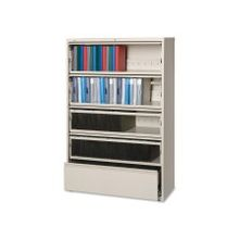 """Lorell Receding Lateral File with Roll Out Shelves - 42"""" x 18.6"""" x 68.8"""" - 5 x Drawer(s) for File - Legal, Letter, A4 - Recessed Handle, Ball-bearing Suspension, Leveling Glide, Heavy Duty, Interlocking - Putty - Recycled"""