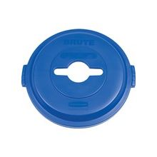 Rubbermaid Brute Heavy-Duty Recycling Container Lid - Round - Plastic - 1 EachBlue
