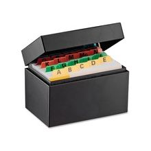 """Steelmaster Card File Box - External Dimensions: 5.5"""" Width x 3.6"""" Depth x 3.2"""" Height - 400 x Index Card (3"""" x 5"""") - Hinged Closure - Steel - Black - For Index Card - Recycled - 1 Each"""