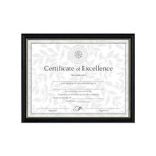 """Dax Two-tone Certificate Frame - 11"""" x 8.50"""" Frame Size - Rectangle - Wall Mountable - Vertical, Horizontal - Durable - Solid Wood - Black, Gold"""