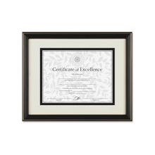 """Dax Gold Accent Hi-Gloss Document Frame - 11"""" x 8.50"""" Frame Size - Rectangle - Wall Mountable - Horizontal, Vertical - High Gloss - Black, Gold, Off White"""
