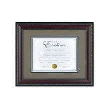 "Dax Dbl Bev. Mat WORLD CLASS Document Frame - 14"" x 11"" Frame Size - Rectangle - Wall Mountable - Horizontal, Vertical - Walnut, Gold, Off White"
