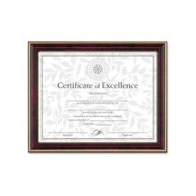 """Dax Border Design Document Frame - 11"""" x 8.50"""" Frame Size - Rectangle - Wall Mountable - Horizontal, Vertical - Mahogany, Gold, Gold"""