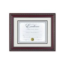 "Dax Dbl Bev. Mat WORLD CLASS Document Frame - 14"" x 11"" Frame Size - Rectangle - Wall Mountable - Vertical, Horizontal - Rosewood, Gold"