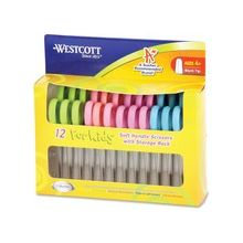 """Westcott Microban Protection Kids 5"""" Blunt Scissors - 2"""" Cutting Length - 5"""" Overall Length - Blunted - Straight-left/right - Stainless Steel - Dark Blue/Light Blue, Blue/Green, Green/Pink, Pink/Yellow"""