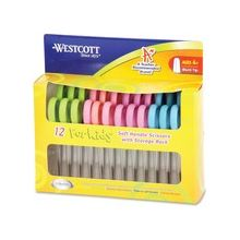 """Westcott Soft Touch Kids Microban 5"""" Pointed Scissors - 2"""" Cutting Length - 5"""" Overall Length - Pointed - Straight-left/right - Stainless Steel - Assorted"""