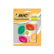 BIC Contoured Comfortable Grip Erasers - Latex-free, PVC-free - 4/Pack - Assorted