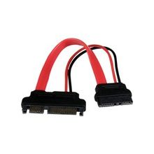 "StarTech.com 6in Slimline SATA to SATA Adapter with Power - F/M - SATA for Optical Drive, Motherboard - 6"" - 1 Pack - 1 x SATA - 1 x SATA - Red"