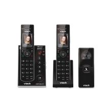 VTech IS7121-2 DECT 6.0 Expandable Cordless Phone with Audio/Video Doorbell and Answering System, Black, 2 Handsets with 1 Video Doorbell - 1.8""