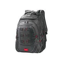 """Samsonite Tectonic Carrying Case (Backpack) for 17"""" Notebook - Black, Red - Shock Resistant Interior, Slip Resistant Shoulder Strap - Polyester, Ballistic Fabric - Checkpoint Friendly - Shoulder Strap, Handle - 19"""" Height x 13.5"""" Width x 9"""" Depth"""