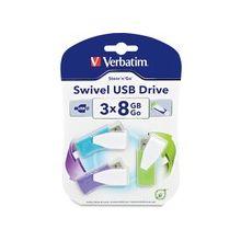 """Verbatim 8GB Swivel USB Flash Drive - 3pk - Blue, Green, Violet - 8 GB - Violet, Blue, Green - 3 Pack - Swivel, Capless"""""""
