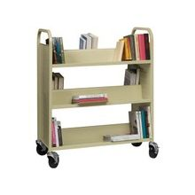 "Lorell Double-sided Book Cart - 6 Shelf - 200 lb Capacity - 5"" Caster Size - Steel - 36"" Width x 19"" Depth x 46"" Height - Putty"