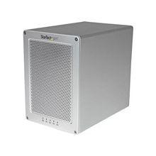"StarTech.com 4-Bay Thunderbolt 2 Hard Drive Enclosure with RAID - Quad-Bay 3.5"" HDD RAID Enclosure - Sleek, Ultra Compact for Mac or PC - Serial ATA/600 Controller - 4 x Total Bays - Thunderbolt 2 - 0, 1, 10, JBOD RAID Levels External"