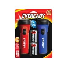 Eveready LED Economy Flashlight - D - PolypropyleneCasing - Blue, Red