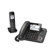Panasonic KX-TGF380M Bluetooth Cordless Phone - Silver, Black - Corded/Cordless - 1 x Phone Line - 1 x Handset - Speakerphone