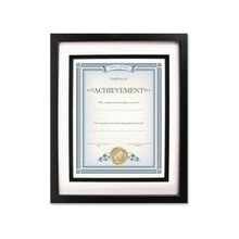 """Dax Airfloat Certificate Frame - 8"""" x 10"""" Frame Size - Rectangle - Wall Mountable - Horizontal, Vertical - Glass, Hardboard, Solid Wood - Black"""