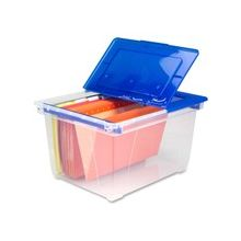Storex Nesting File Tote with Steel Rails - 50 lb - Media Size Supported: Letter, Legal - Flip Top Closure - Heavy Duty - Stackable - Plastic - Clear Blue - For File Folder, Letter, Document, File, Box File - 1 Each