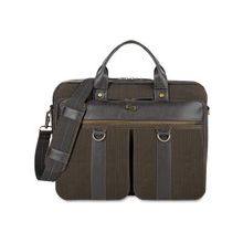 "Solo Executive Carrying Case (Briefcase) for 15.6"" Notebook - Brown - Scrape Resistant Interior - Cotton, Vinyl - Shoulder Strap, Handle - 12"" Height x 16"" Width x 3.8"" Depth"