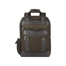"Solo Executive Carrying Case (Backpack) for 15.6"" Notebook - Brown - Scratch Resistant - Cotton, Vinyl - Shoulder Strap - 17"" Height x 12"" Width x 5"" Depth"