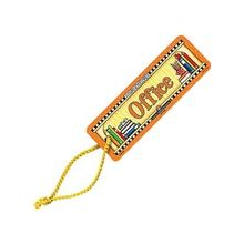 """Teacher Created Resources Office Pass - Rectangle - Office, An Apple, Pencil Cup of Writing Utensils and Books - Double-sided, Water Resistant - 2"""" Height x 6"""" Width - Multicolor - Cardboard - 1 Each"""