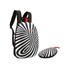 ZIPIT Carrying Case (Backpack) for Accessories, Sunglasses, Eyeglasses - Black, White - Scratch Resistant Interior - Fabric - printed pattern, Swirls - Shoulder Strap