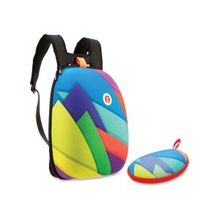 ZIPIT Carrying Case (Backpack) for Accessories, Sunglasses, Eyeglasses - Assorted Bright - Scratch Resistant Interior - Fabric - Colorful Triangles, printed pattern - Shoulder Strap
