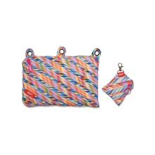 "ZIPIT Colorz Carrying Case (Pouch) for Makeup, Memory Card, Pencil, Pen, Cosmetics, Marker, Crayon, Toy, Scissors, Stationary - Assorted Bright - Polyester, Fabric - Stripes - 5.9"" Height x 9"" Width x 0.8"" Depth"