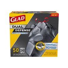 Glad ForceFlex 30gal Extra Strong Trash Bags - 30 gal - 1.05 mil (27 Micron) Thickness - Black - Plastic - 200/Carton - 50 Per Box