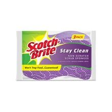 Scotch-Brite Stay Clean Scrub Sponges - 24/Carton - Cellulose, Foam - Purple