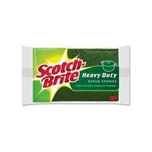 "Scotch-Brite Heavy-Duty Scrub Sponges - 2.8"" Height4.5"" Depth - 24/Carton - Green, Yellow"