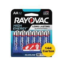 Rayovac Alkaline AA Batteries 12-Pack - AA - Alkaline - 144 / Carton