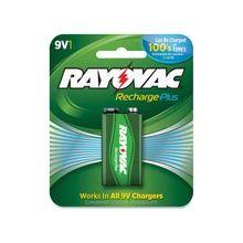 Rayovac Recharge Plus 9-volt Battery - 200 mAh - 9V - Nickel Metal Hydride (NiMH) - 9 V DC - 6 / Carton